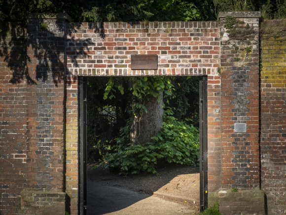 Cumberland Garden Entrance from the High Street made of old red brick