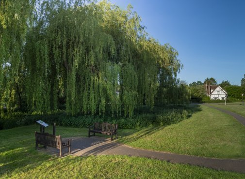 Photo of Weeping Willows and a couple of benches to sit on along the River Red at The Moor, Chequer Lane